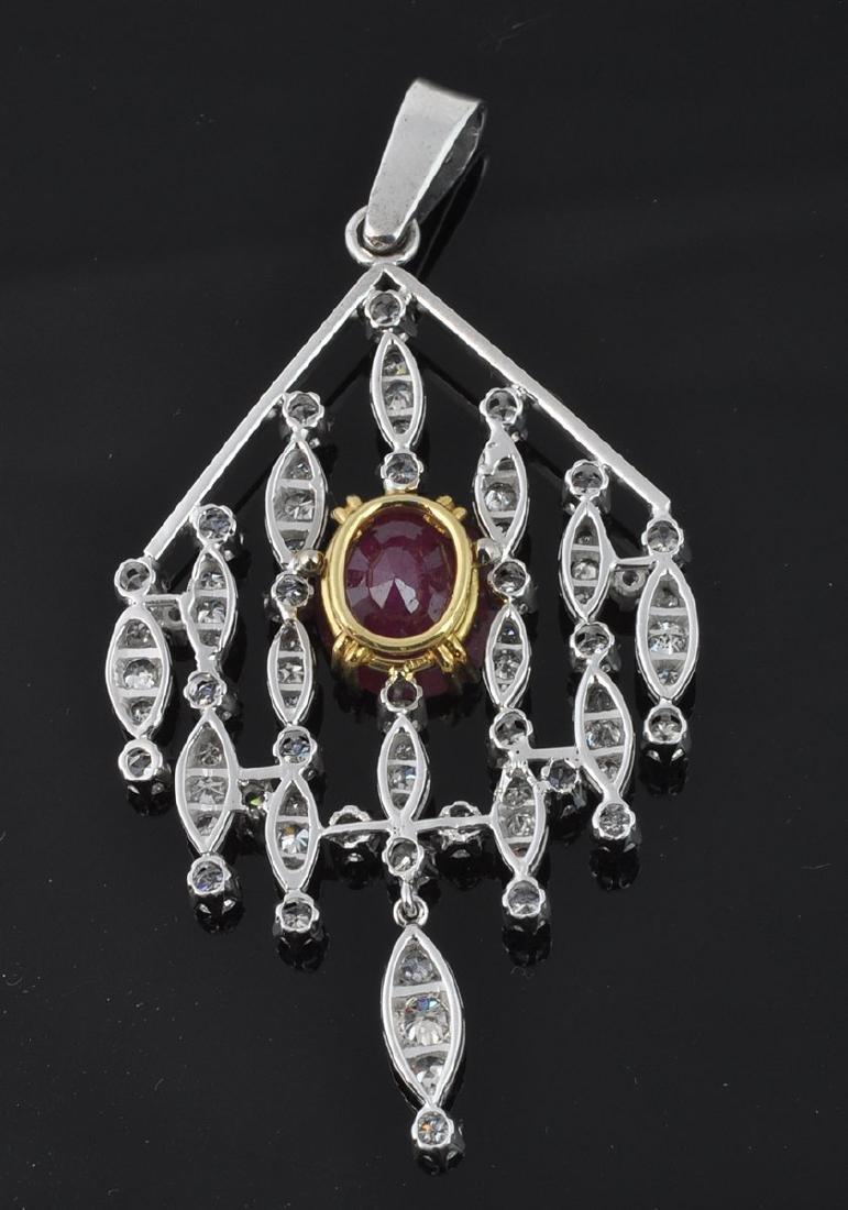 18Kt WG Ruby & Diamond Articulated Pendant - 3