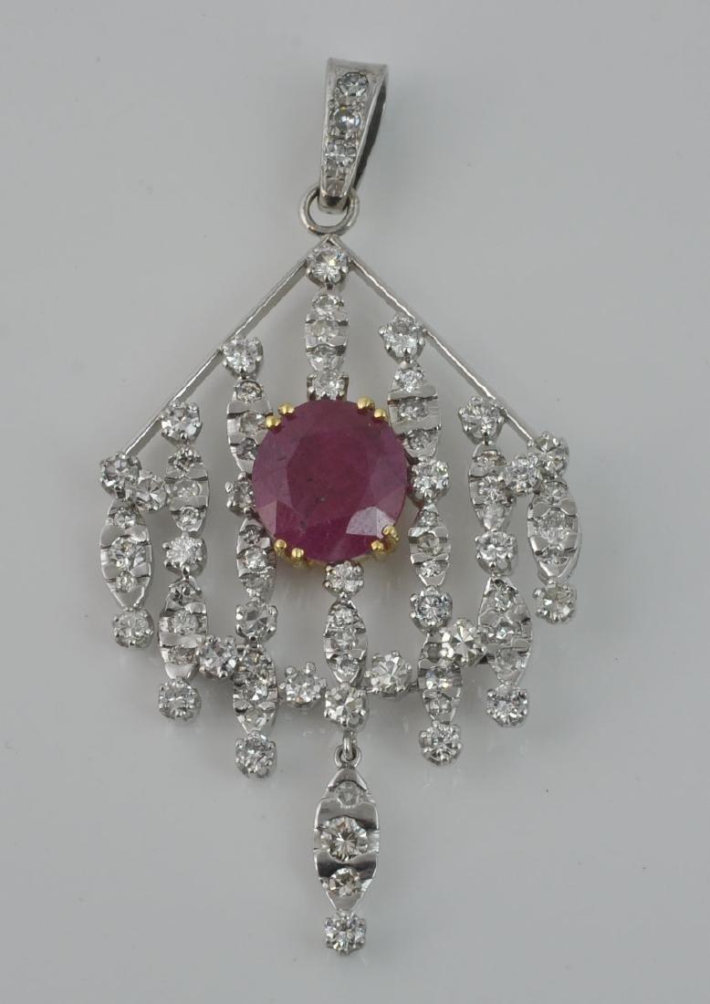 18Kt WG Ruby & Diamond Articulated Pendant - 4