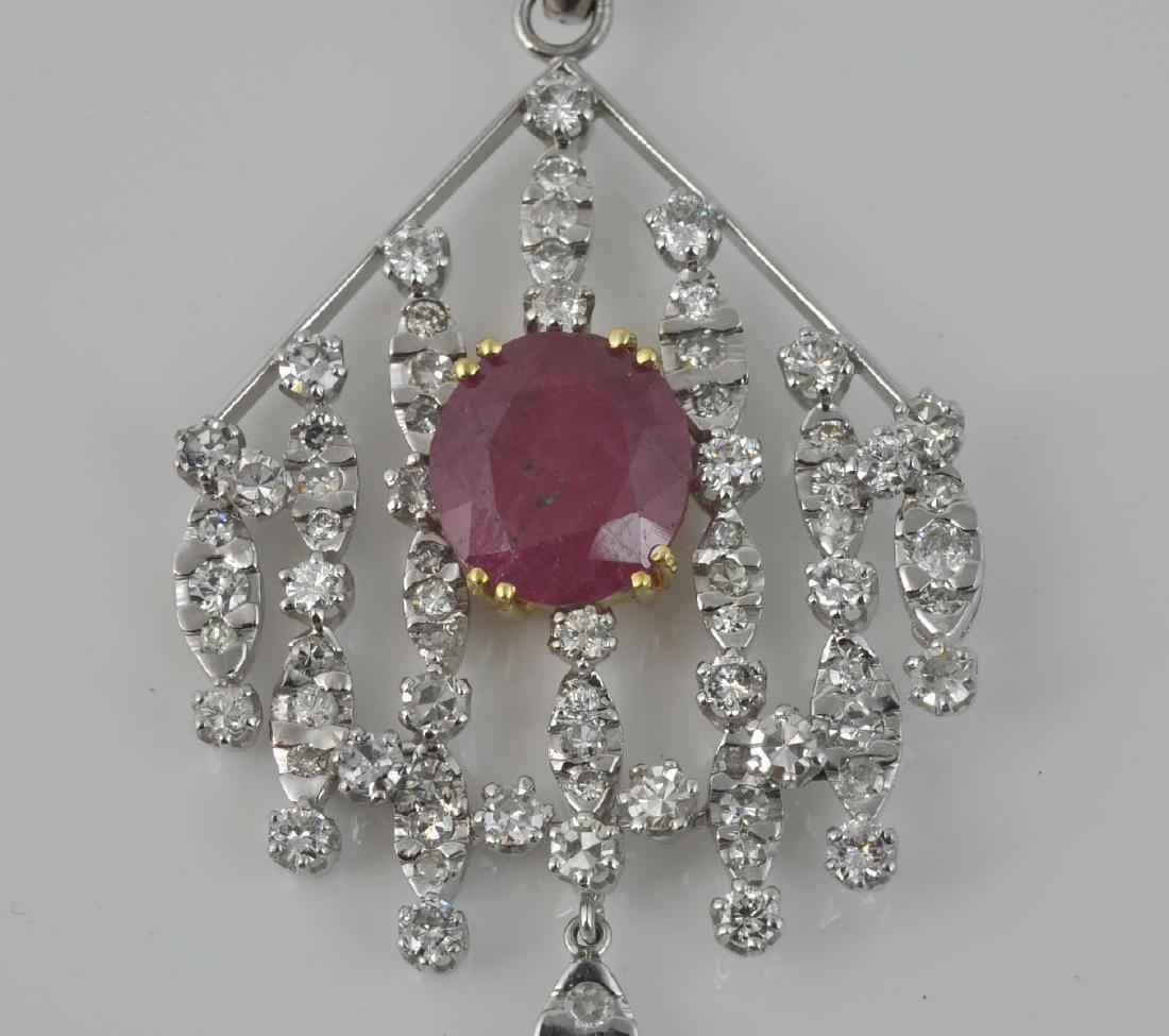 18Kt WG Ruby & Diamond Articulated Pendant - 5
