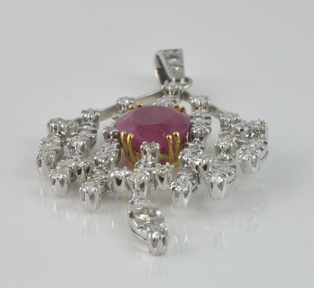 18Kt WG Ruby & Diamond Articulated Pendant - 6