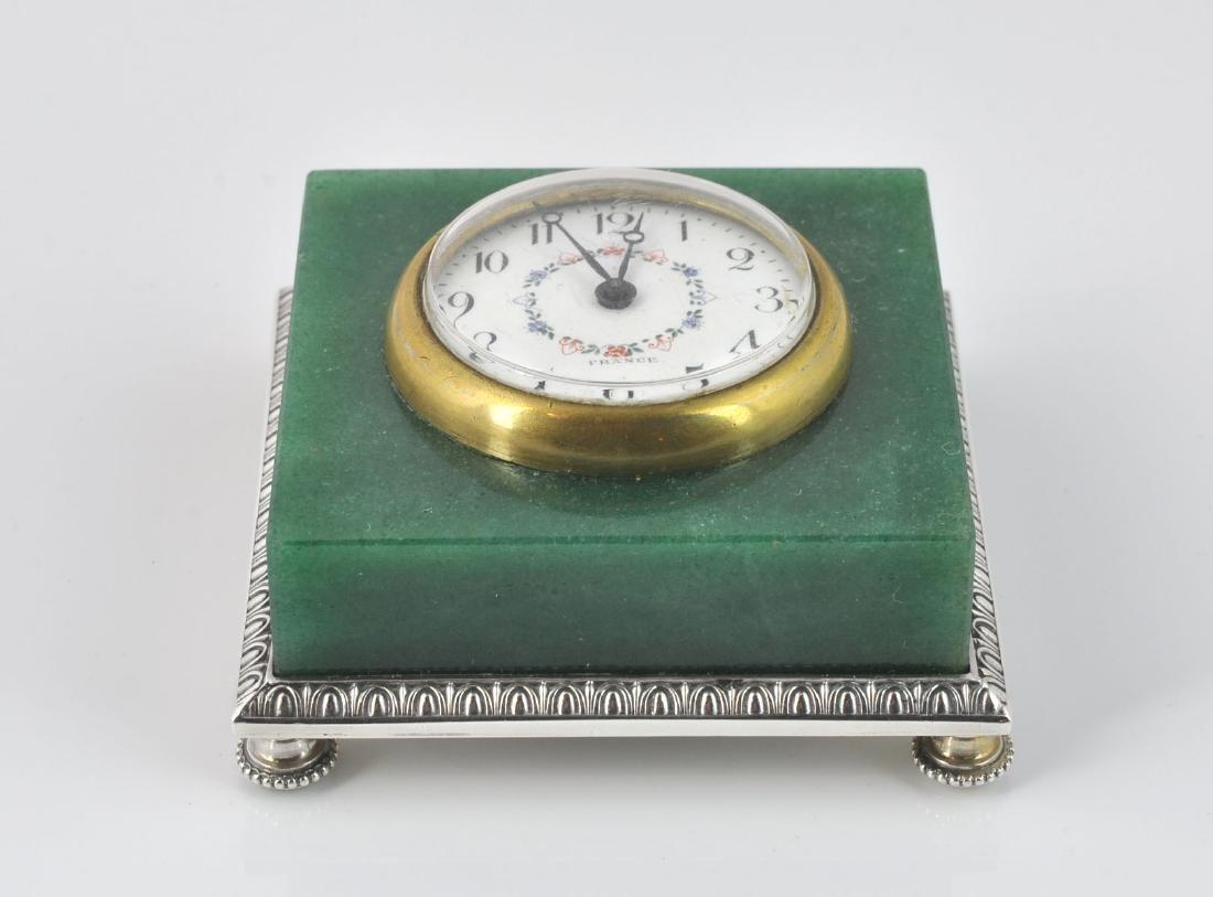 French Dreyfous Aventurine Silver Desk Clock - 2