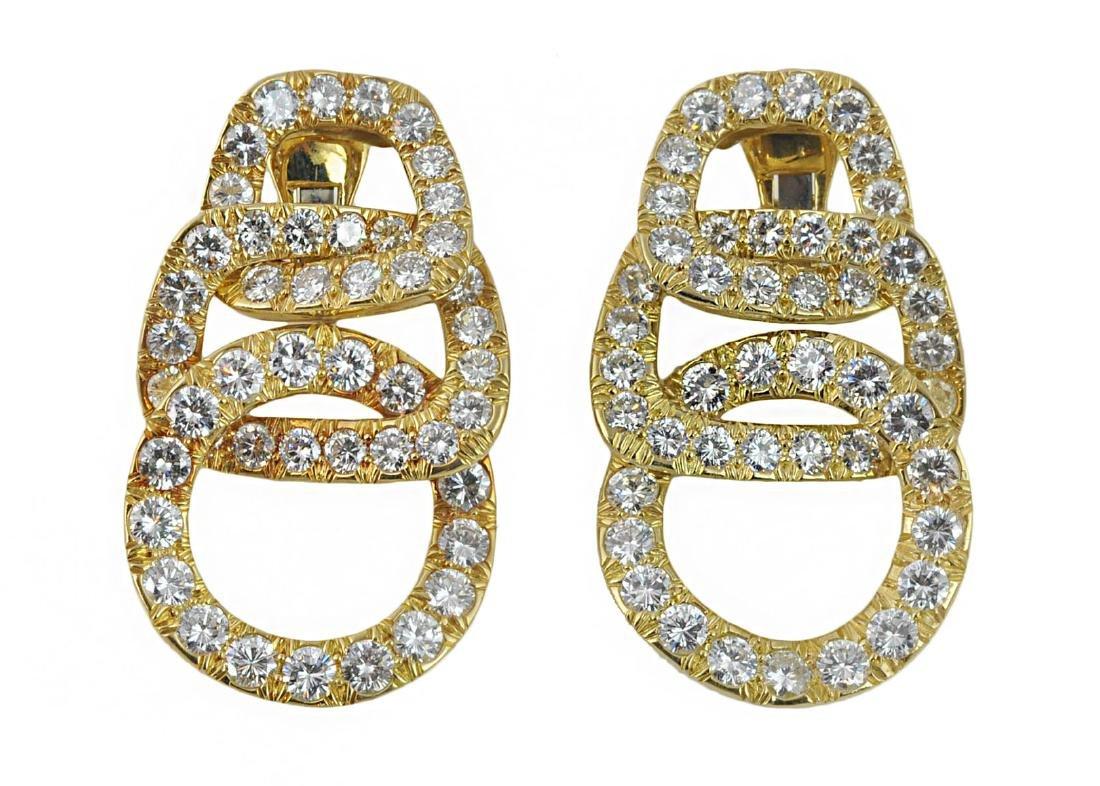 David Webb Triple Circle 18Kt & Diamond Earrings