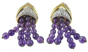 18Kt. YG Diamond & Amethyst Drop Earrings