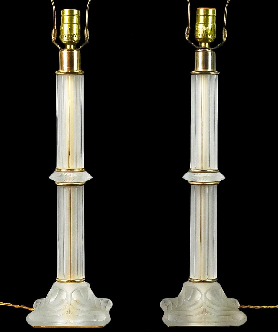 Pr. Lalique Frosted Crystal & Gilt Metal Lamps