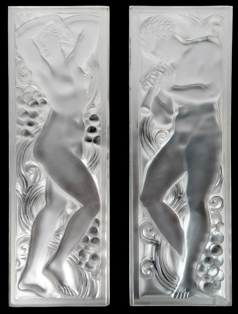 Pr. of Lalique Satin & Polished Crystal Panels
