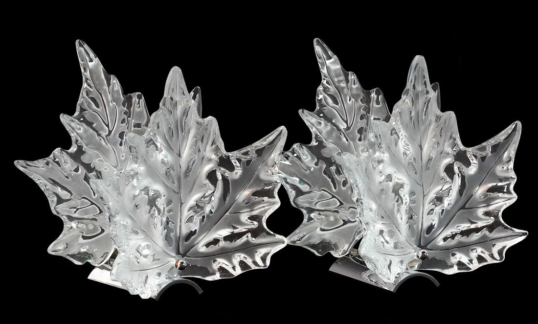 Pair of Lalique Champs-Elysees Crystal Sconces
