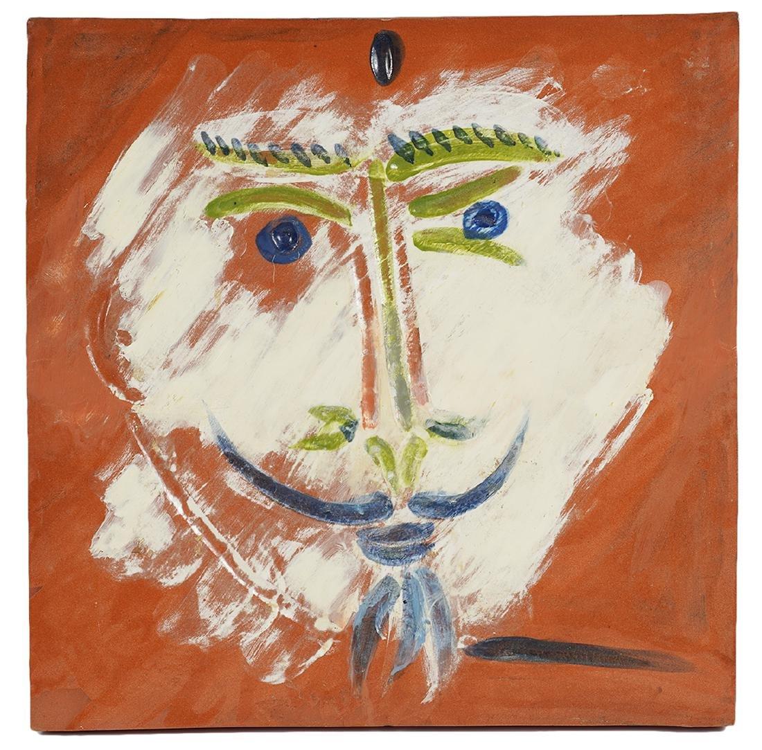 Pablo Picasso Large Tile 'Visage a la Barbiche'