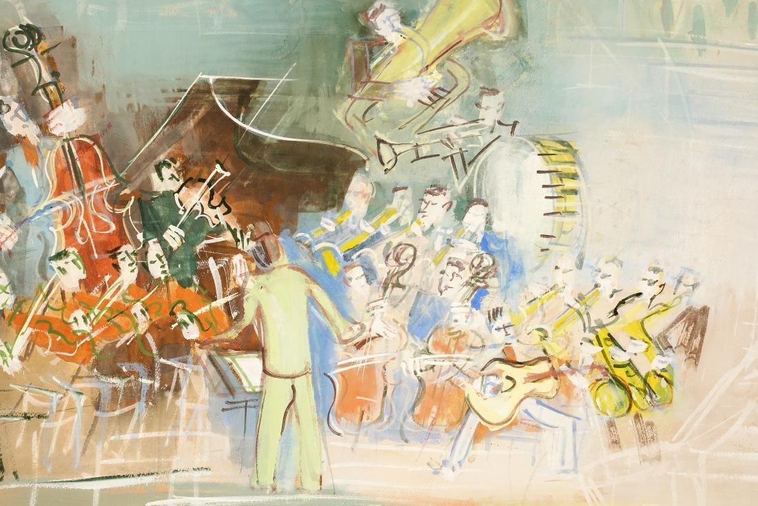 Jean Dufy 'L Ochestre' Gouache on Paper - 3