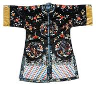 Chinese 'Medallions' Embroidered Silk Robe