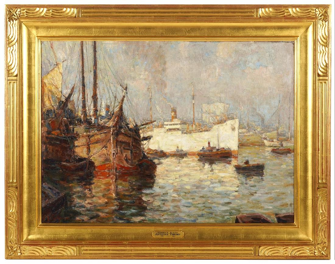 Anthony Thieme Large 'Harbour Scene' Painting