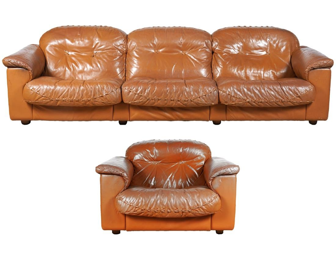 Mid Century Camel Leather Sofa & Side Arm Chair