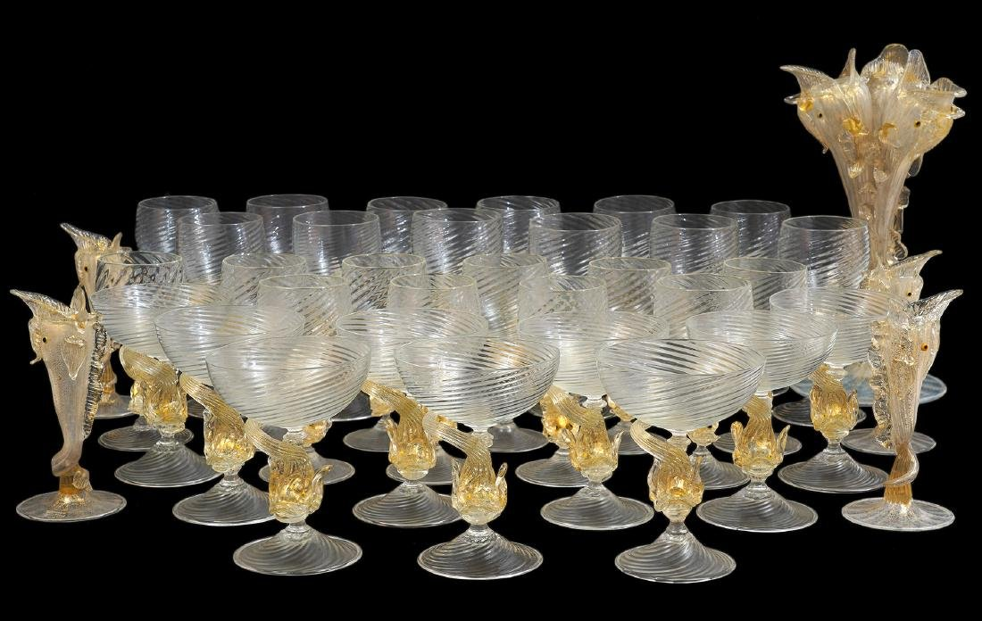 36 Pc. Venetian Art Glass Set