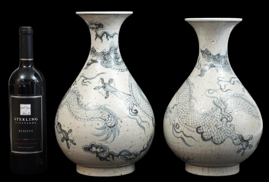 Pr. Chinese Grey Crackle Ceramic Pottery Vases