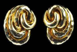 Pair Henry Dunay 18kt Yellow Gold Earrings