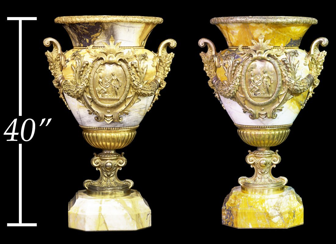 Pr. French Monumental Marble & Dore Bronze Urns