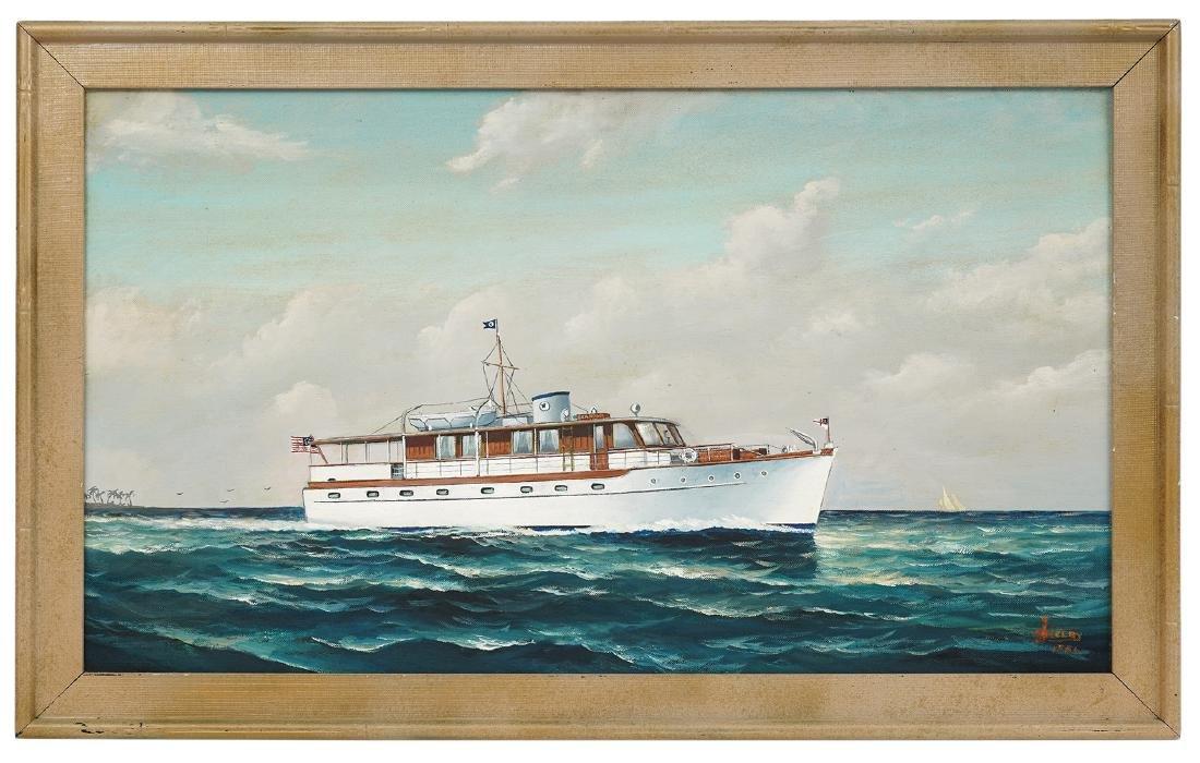 Joe Selby 'Seaholm' Trumpy Yacht Oil Painting
