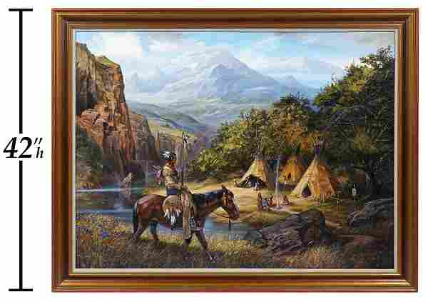 James Hutchinson 'Shoshoni' Large Oil on Canvas