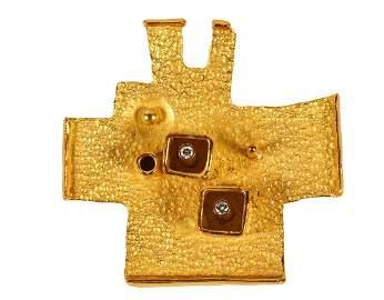 Walter Schluep 18Kt Gold & Diamond Brooch