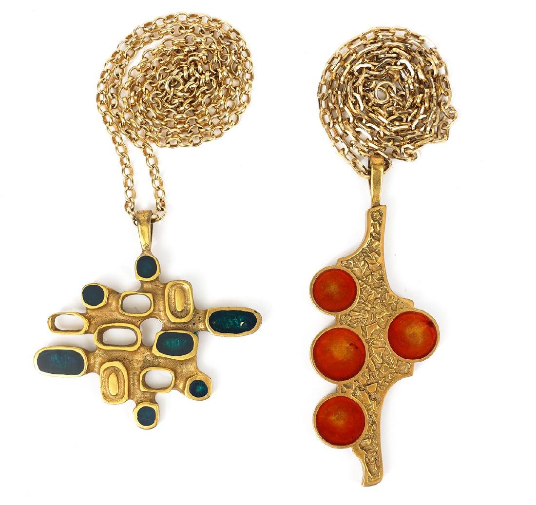 2 Bernard Chaudron Brass & Enamel Pendants