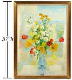 Le Pho 'Fleurs' Large Oil on Canvas