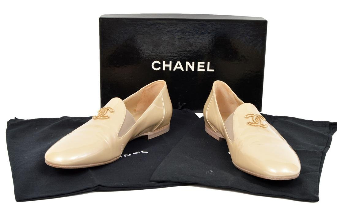 Chanel Beige Patent Loafers Goldtone CC