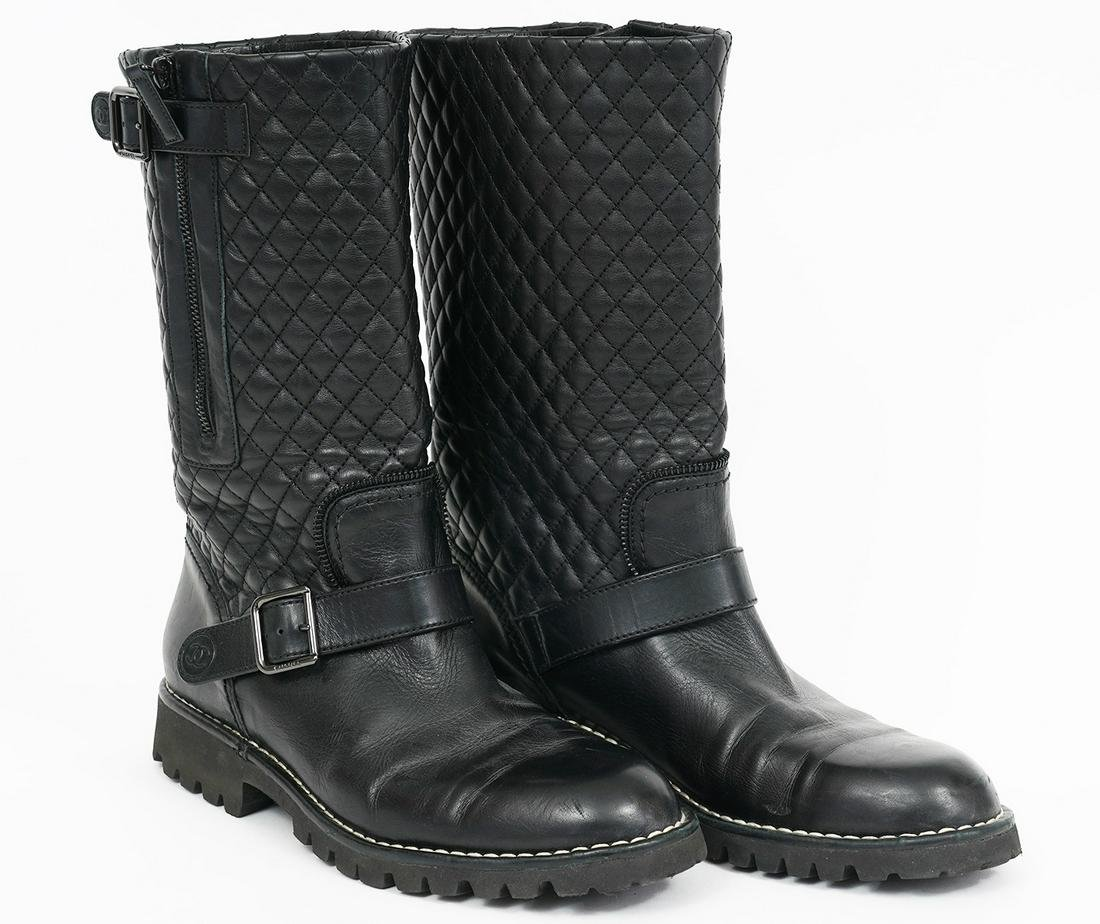 "Chanel Black Leather Quilted ""Biker' Boots"