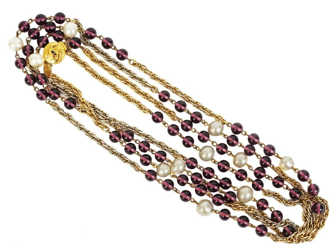 Chanel Pearl and Amethyst Gold Sautoire Necklace