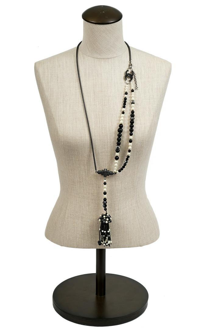 Chanel Gunmetal Black Bead & Faux Pearl Necklace