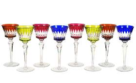 8 Baccarat Cut to Clear Wine Glasses