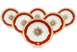 6 Russian Gardner Porcelain Plates