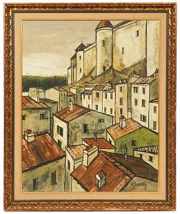 Charles Levier 'Village Rooftops' O/B Painting