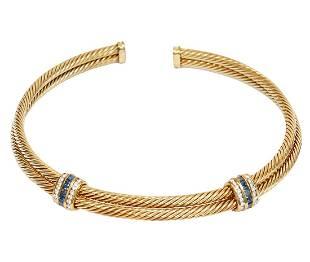 David Yurman 14Kt YG, Sapphire & Diamond Necklace