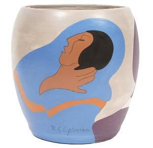 RC Gorman Signed Color Proof Ceramic Art Vase