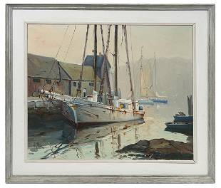 Otis Cook 'Rockport Harbor' Oil on Canvas