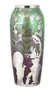 Loetz Titania Vase Silver Overlay Asian Motif