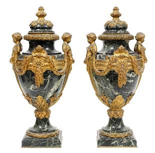 19th Ct. Pr. French Green Marble & Bronze Cassolettes