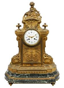 19th Ct.French Bronze Mounted Green Marble Mantle Clock
