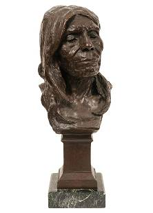Large Bronze Native American Bust