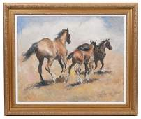 Pal Fried Running Horses Oil on Canvas