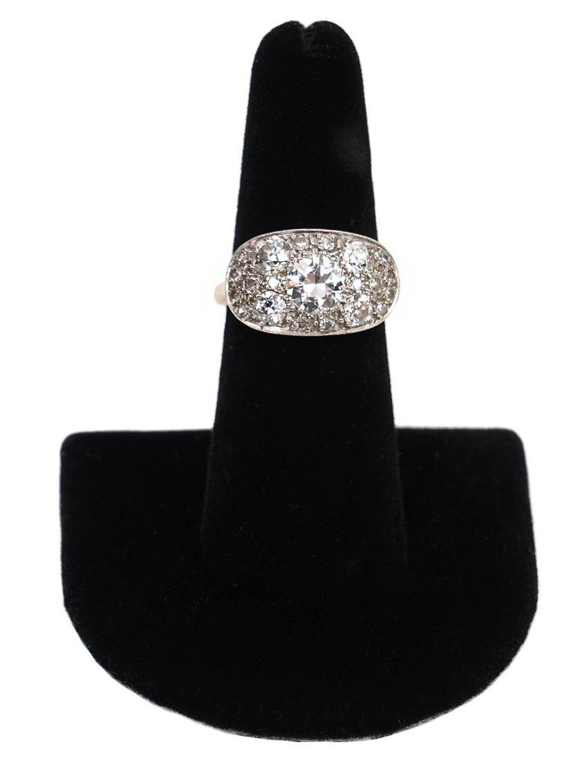 Art Deco 2ct Diamond & 14K Two Tone Gold Ring