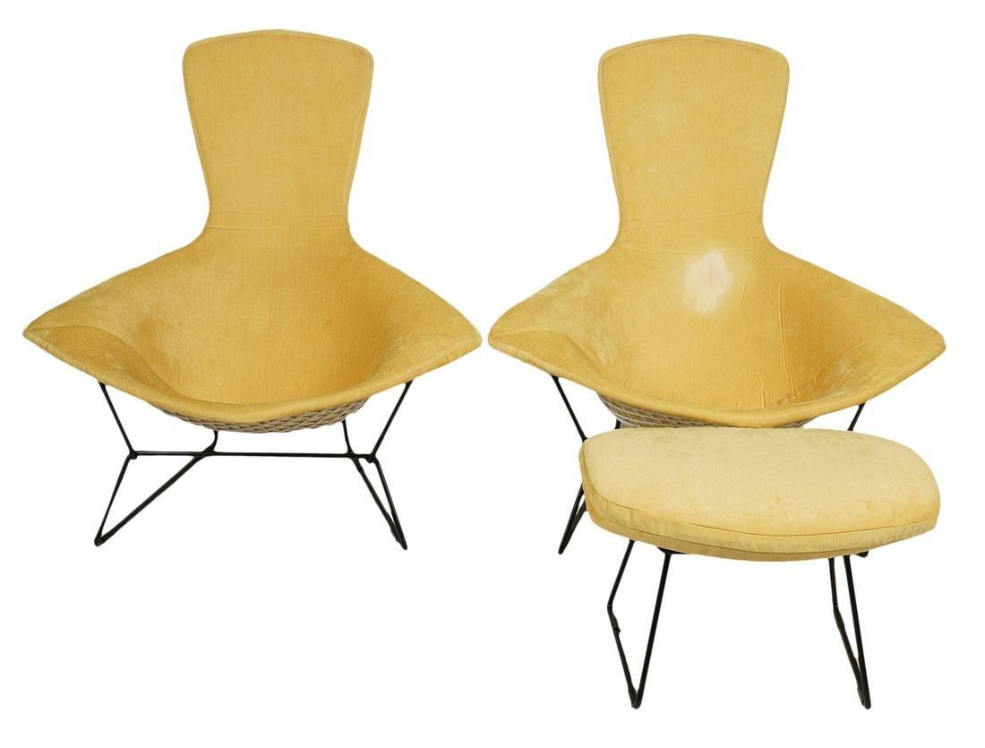 Pr. Bertoia Bird Chairs & Ottoman for Knoll