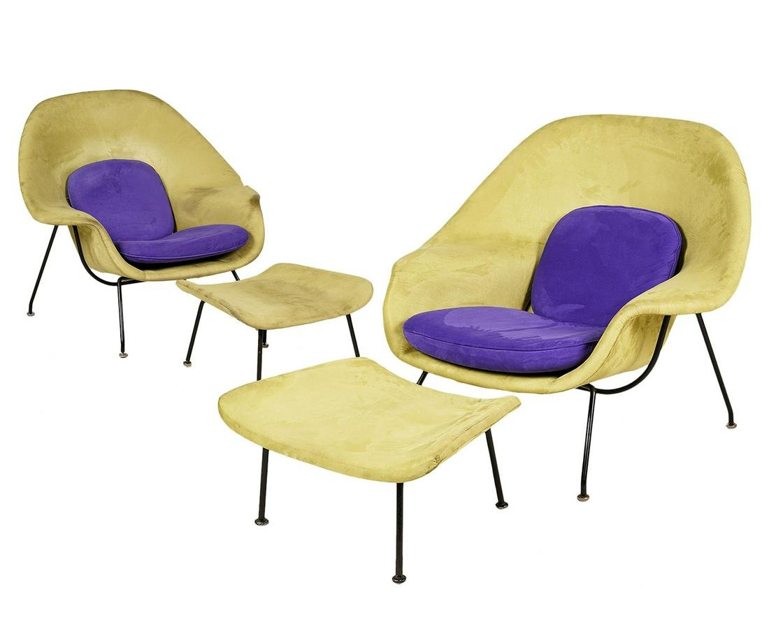 2 Knoll Womb Chairs & Ottomans