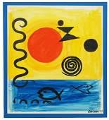 Alexander Calder 'In Mid-Ocean' Gouache On Paper