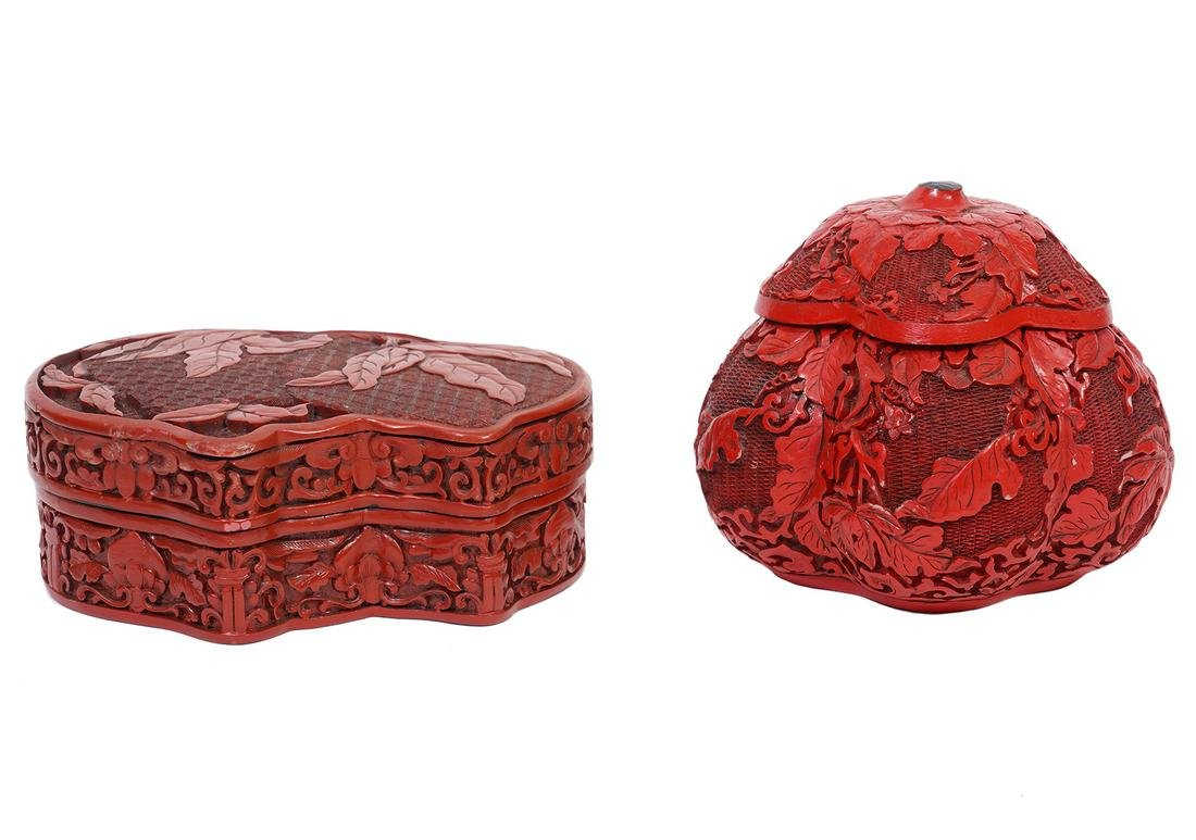 Two Chinese Carved Cinnabar Lacquer Boxes
