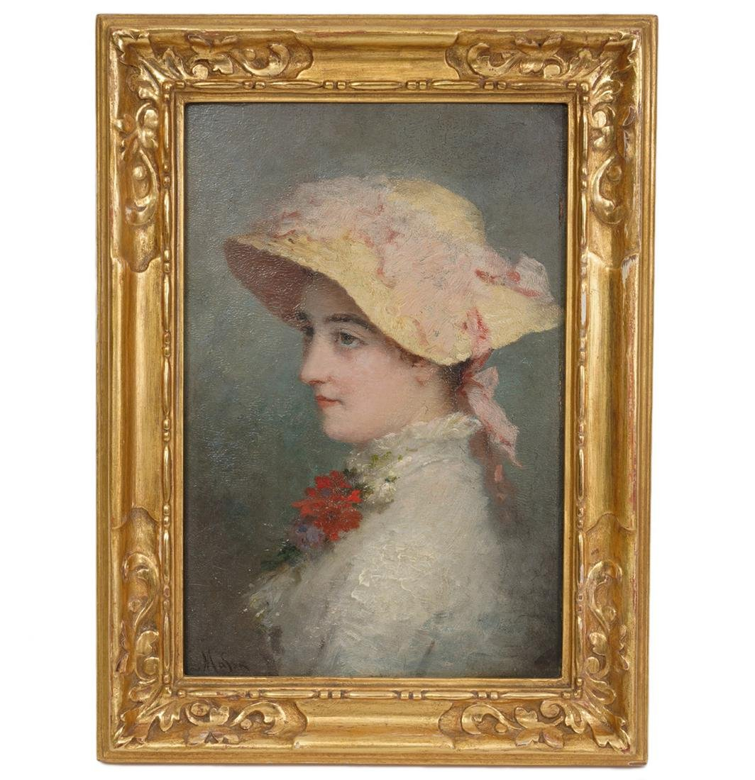 Small Signed American Oil Painting of Young Lady