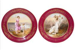 Pair of Royal Vienna Mythological Cabinet Plates