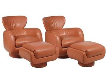 Pr. Kagan Leather Lounge Chairs & Ottomans