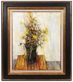 Michel De Gallard 'Fleurs Jaunes' Oil on Canvas