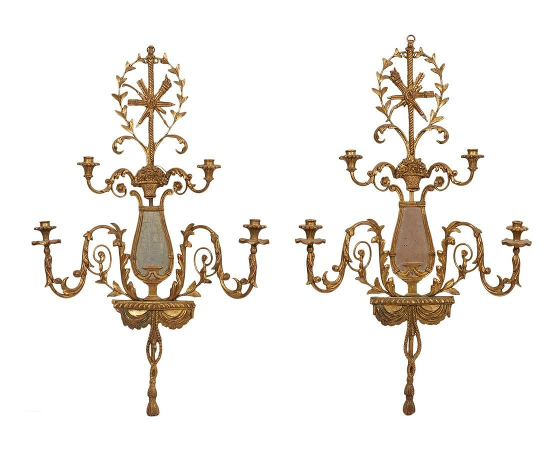Pr. Italian Gilt Carved Wood and Mirrored Sconces