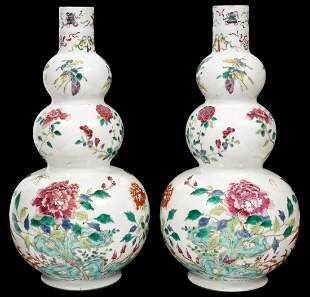 Pair of Chinese Porcelain & Enamel Gourd Vases